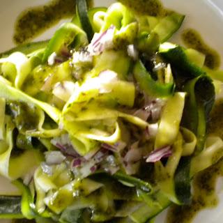 Zucchini with Almond Basil Pesto