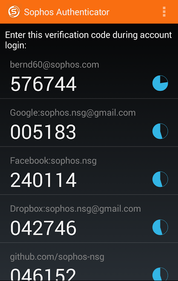 Sophos Authenticator- screenshot