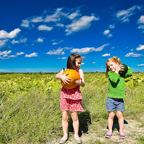 Pumpkin Patch! by Russell McFarland - Babies & Children Children Candids ( clouds, farm, field, blue sky, pumpkin patch, pumpkin, blue skies, children, kids )
