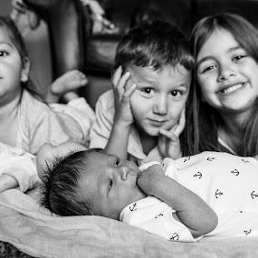 4 kids under 5! by E.g. Orren - Babies & Children Child Portraits ( newborn photography, family, photo by ego, children, baby, edmonton, black and white, b&w, child, portrait,  )