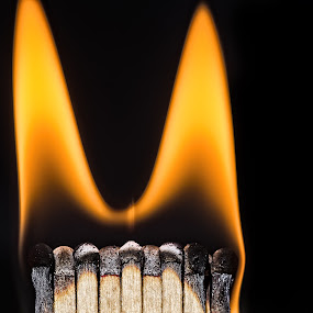 burn baby burn by Hilde Hove - Abstract Fire & Fireworks ( matches, flames, macro, yellow, fire )