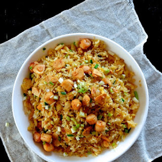 Scallop Fried Rice with XO Sauce and Crispy Garlic.