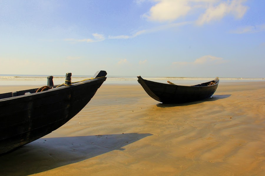 Boats standing @Mandarmoni, WB, India by Buddhadev Chhaule - Transportation Boats