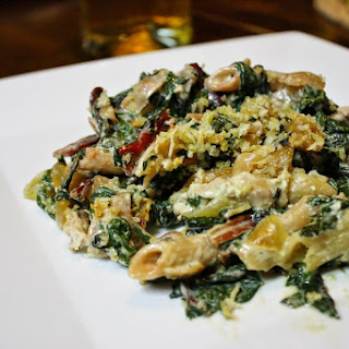 Baked Pasta With Chicken And Swiss Chard.
