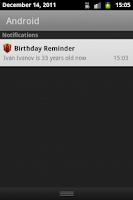 Screenshot of Birthday Reminder