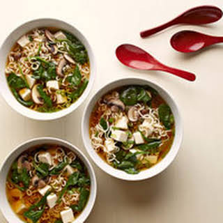 Tofu Ramen Soup with Spinach.