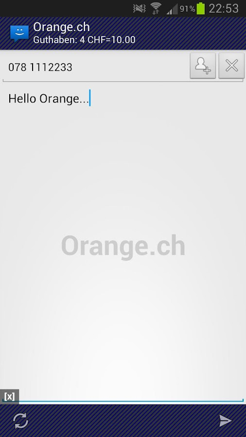 WebSMS: Orange.ch Connector - screenshot