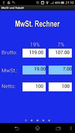 MwSt. und Rabatt Rechner