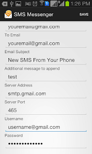 Forward SMS to Email via SMTP- screenshot thumbnail