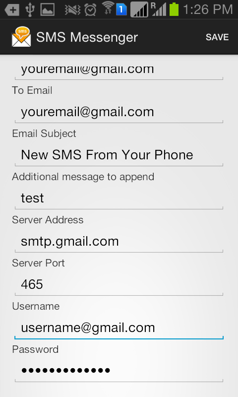 Forward SMS to Email via SMTP- screenshot