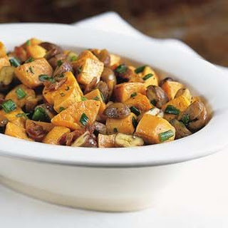 Roasted Sweet Potatoes with Cognac Chestnuts