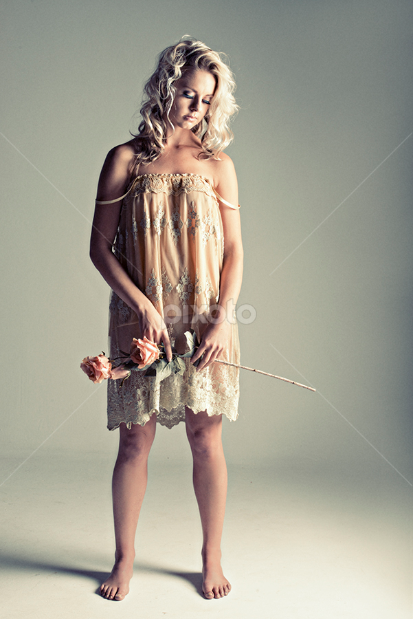 Alone with Roses by Peter Driessel - People Portraits of Women ( dress, photograph, unique outfit, urban fashion, rose, urban portrait, portrait, women, fashion )