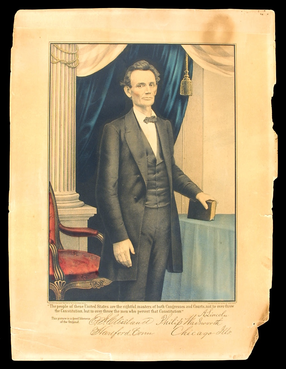 Lithograph Portrait of Abraham Lincoln in 1860 - E.B. & E.C. ...