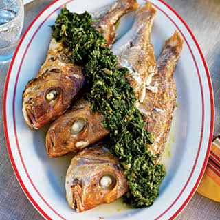 Whole Baby Snapper and Green Sauce.