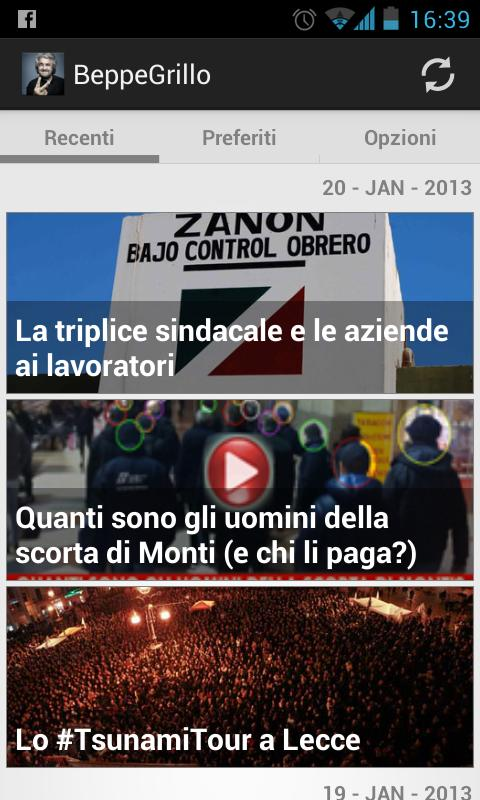 Beppe Grillo Blog Italian news - screenshot