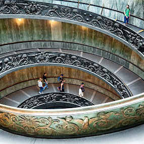 Vatican staircase by Tomas Vocelka - Buildings & Architecture Architectural Detail ( rome, staircase, architecture, museum, spiral, vatican )