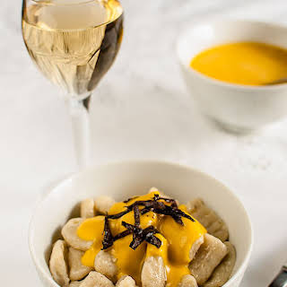 Gnocchi with Seaweed and Crab Sauce.