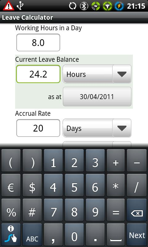 Leave Calculator- screenshot