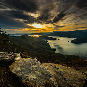 Jumping Off Rock Sunset by Tom Moors - Landscapes Sunsets & Sunrises ( jumping off rock, sunset, vista, jocassee, lake, rock,  )