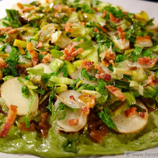 Tremendously Green Pizza (Bacon, Cabbage, Caramelized Onion, Leek and Potato Pizza on a Spinach Crust) Pizza Night!.