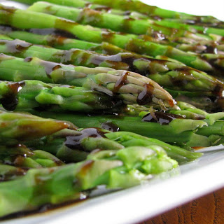 Grilled Asparagus with Roasted Garlic Vinegarette.