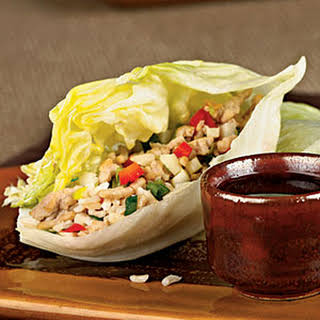 Asian Chicken-Brown Rice Lettuce Wraps.