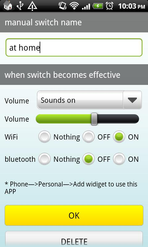 Auto Switch(Wifi,BT,Sound) - screenshot