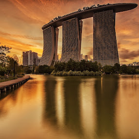 by Kristianus Setyawan - Buildings & Architecture Office Buildings & Hotels ( building, reflection, skyline, park, sunset photography, waterscape, marina bay sands, lake, golden hour, sunset, sunrise )