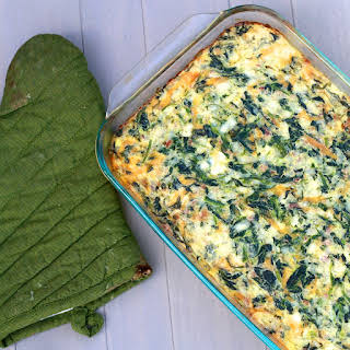 Cheddar, Bacon and Spinach Egg Casserole.