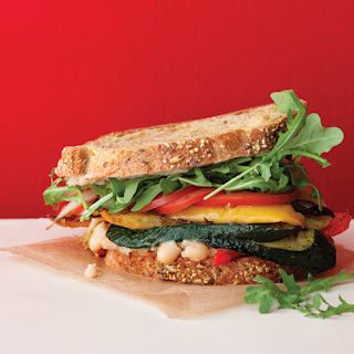 Roasted Vegetable Sandwiches with Zesty White Bean Spread.