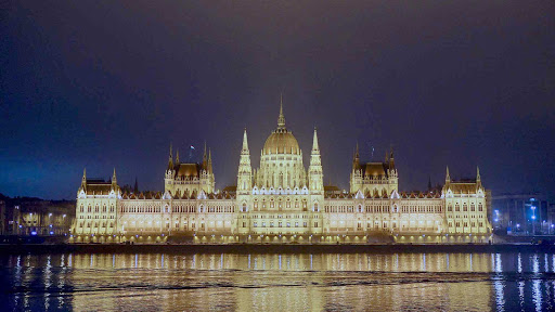 The Parliament Building in Budapest, Hungary, built in a Gothic Revival style and opened in 1904, is one of Europe's oldest legislative buildings.