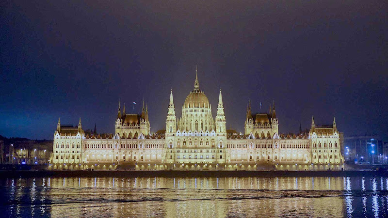 The Parliament Building in Budapest, Hungary, built in a Gothic Revival style and opened in 1904, is a highlight of any river cruise along the Danube.