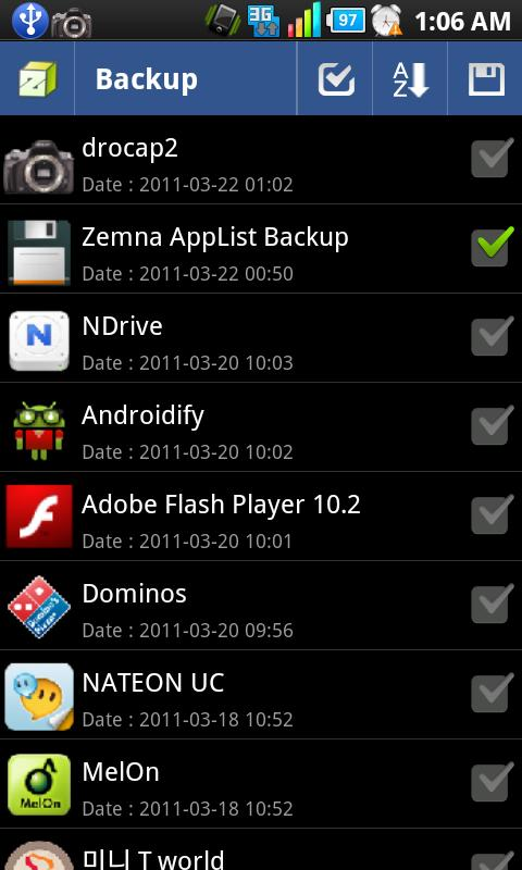 Zemna AppList Backup: screenshot