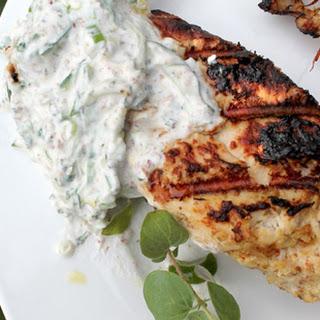 Grilled Tandoori Chicken with Cucumber-Yogurt Sauce