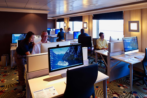 Enrichment-Entertainment-Computer-University-at-Sea-on-Crystal-Serenity - Take advantage of big, beautiful iMacs featuring 27-inch screens at the Computer University @ Sea on board the Crystal Serenity.