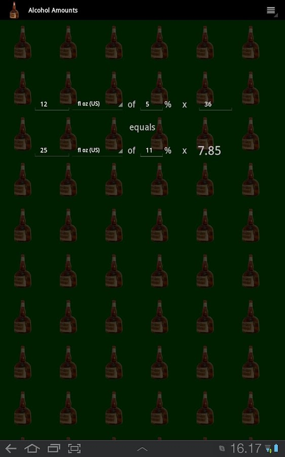 Alcohol Amount Converter - screenshot