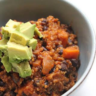 Vegan Quinoa & Sweet Potato Chili.