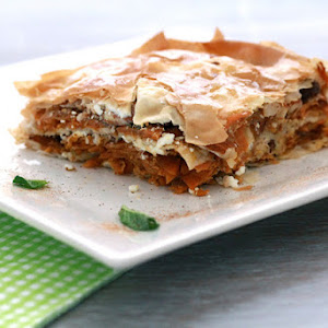 "Savory ""Baklava"" with Carrots, Feta, Almonds and Mint"