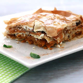 """Savory """"Baklava"""" with Carrots, Feta, Almonds and Mint."""