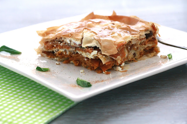 "Savory ""Baklava"" with Carrots, Feta, Almonds and Mint Recipe"