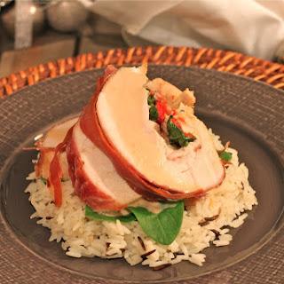 Prosciutto wrapped Turkey Breast stuffed with Gruyère