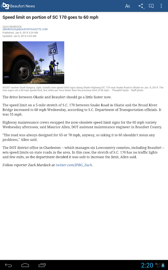 Beaufort Gazette - mobile news - screenshot