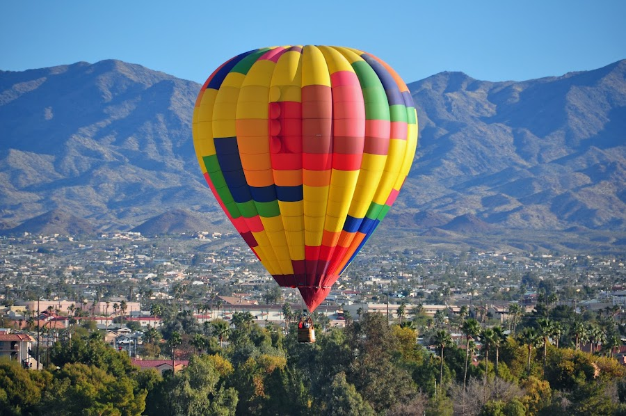 Low Flying Hot Air Balloon by Jane Singer - Transportation Other ( hot air balloon, mountain, colorful,  )