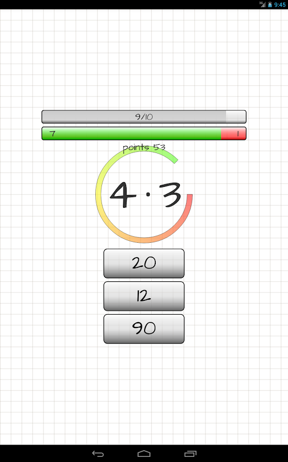 Multiplication table- screenshot
