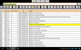 Screenshot of e-Droid-Cell Pro Spreadsheet