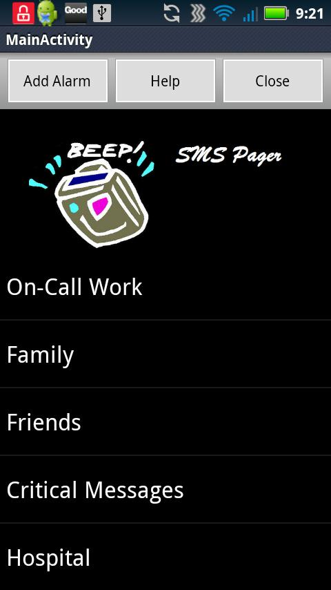 SMS (Text) Pager - screenshot