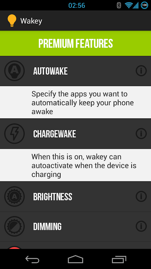 Wakey: keep your screen awake - screenshot