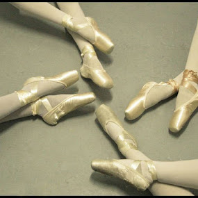 Ballet Dancers by Sharmila Narwani - People Body Parts ( shoes, sepia, dancers, satin, ballet, pointe,  )