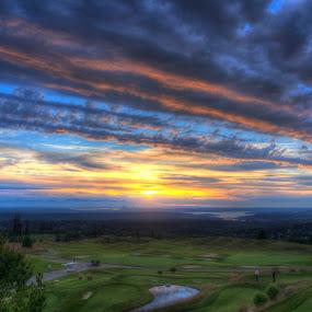 Golf Course Sunset by Nolan Hauke - Landscapes Sunsets & Sunrises ( course, hdr, sunset, golf )