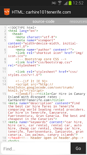 HTML Source Code Viewer Screenshot